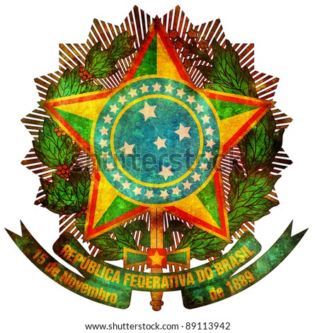 old isolated over white coat of arms of brazil