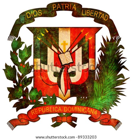 old isolated over white coat of arms of dominican republic