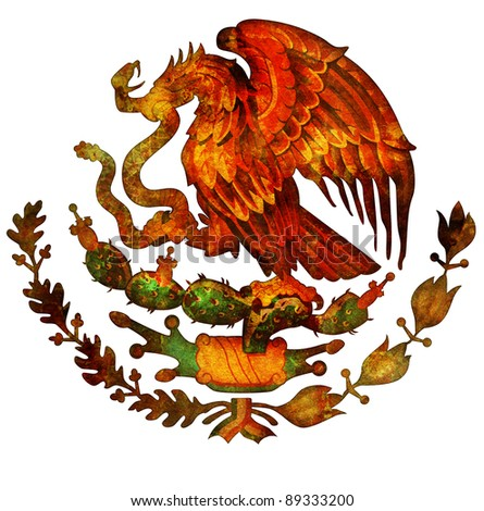 old isolated over white coat of arms of mexico