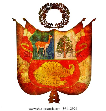 old isolated over white coat of arms of peru