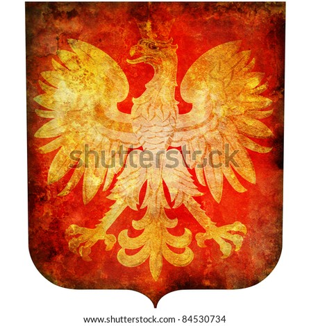 old isolated over white coat of arms of poland