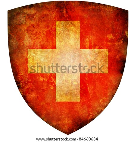 old isolated over white coat of arms of switzerland
