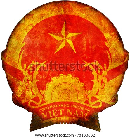 old isolated over white coat of arms of vietnam