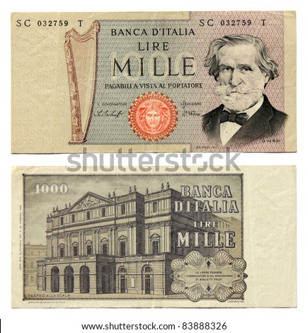Old Italian currency notes issued by Bank of Italy in 1977. 1000 Lire banknote. The Theater Alla Scala in Milan and Guiseppe Verdi portrait.