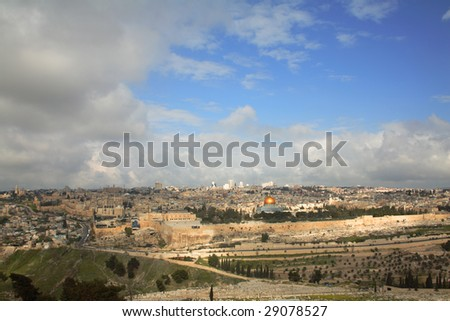 Old jerusalem - a view from Mount Of Olives