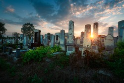 Old Jewish cemetery in the evening. Chernivtsi, Ukraine