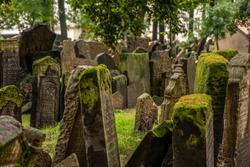 Old Jewish Cemetery Prague in Czech Republic.