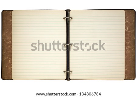 Old journal ring binder lined notepaper isolated on white.