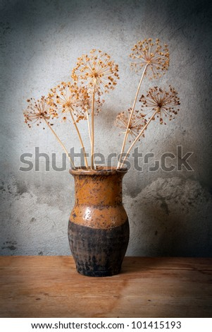 Old jug with dry flower against a cement wall