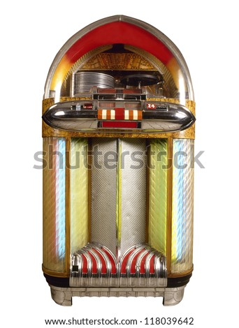 Old jukebox music player isolated on white background #118039642