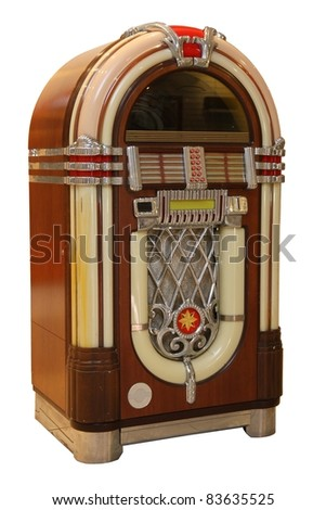 Old jukebox music player isolated on white background #83635525