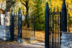 Old Keila Church Graveyard Entrance Gates and Cemetery in Autumn, Estonia