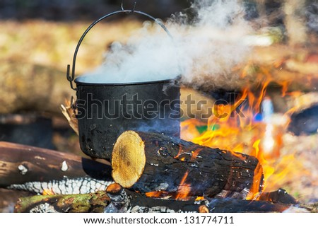 Old kettle in camping