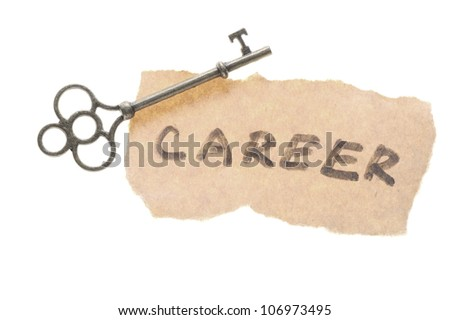 Old key and career word isolated on white background