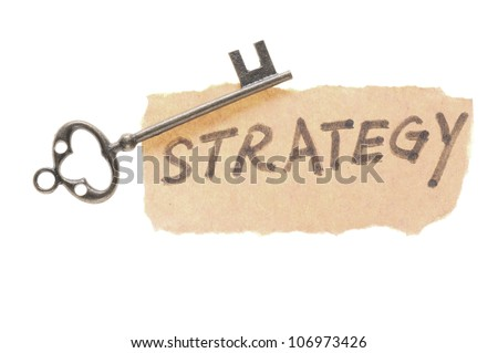 Old key and strategy word isolated on white background