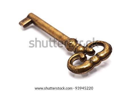 Old key isolated on white
