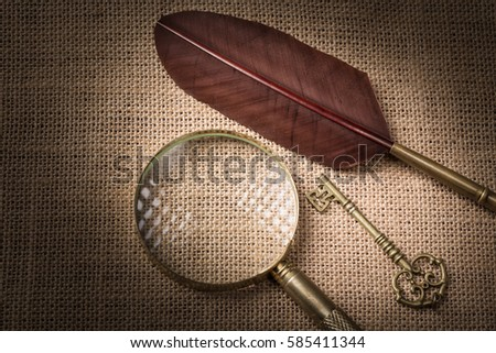 Old key near feather and magnifying glass on canvas background. #585411344