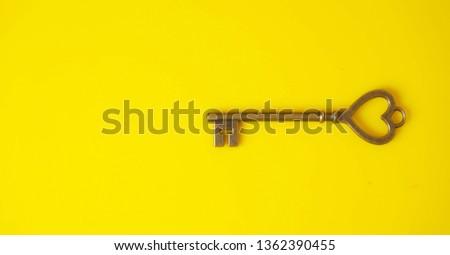 Old Key / Vintage Key / Antique keys on Yellow Background #1362390455