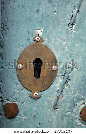 Old keyhole at a church in Peru