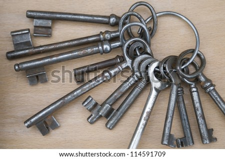 old keys against wooden background
