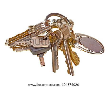Old keys isolated on white background