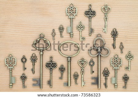 Old keys on wooden background
