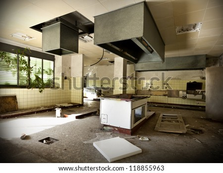 old kitchen destroyed, interior abandoned house #118855963