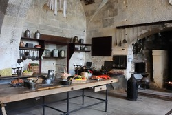 Old kitchen in the castle of Valencay, France, Loire valley