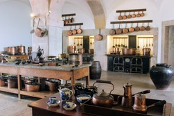 Old kitchen inside the Castle of Sintra