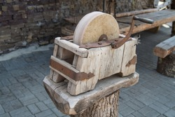 Old knife sharpener for swords, weapons. Blacksmith's tool in the forge