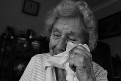 Old Lady crying  black and white
