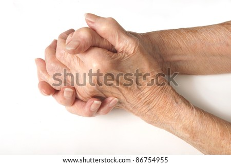 Old Lady's hands clasped - My mother at 90 years old with arthritic hands