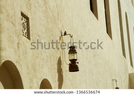 old lamp old wall old house #1366536674