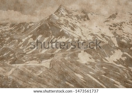 old landscape photo, artistic photograph of mountain landscapes in aged sepia to give it the patina of another time.