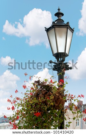 Old lantern. Street lamp in the city of Lvov