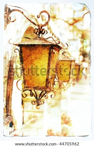 Old lanterns - picture in retro style