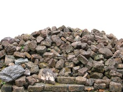 Old Laterite brick pile. Isolated over white background.