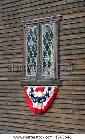 Old lead glass window hand blown with american flag