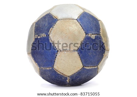 old leather ball on a white background