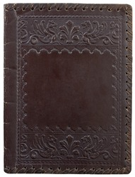 old leather book cover with a sign lily