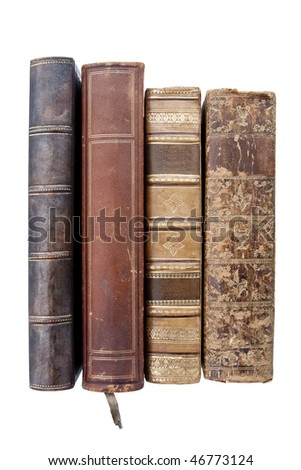 Old leather Books isolated on white
