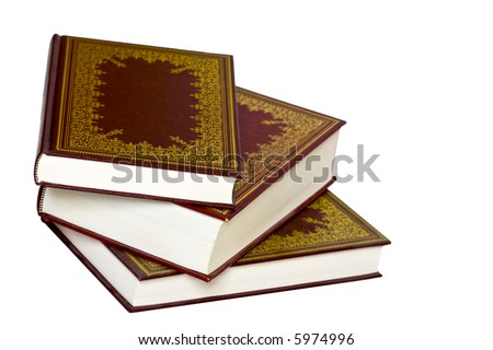 Old leather bound decorative books isolated on a white - Decorative books for display ...