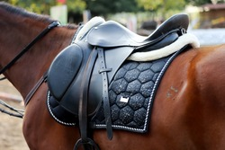 Old leather saddle with stirrups for show jumping race Saddle on a back of a sport horse. Equestrian sport event background