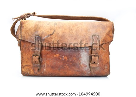 old leather suitcase and worn