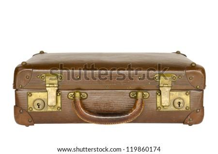 old leather suitcase isolated on white background