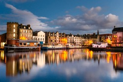 Old Leith Docks at Dusk and Reflection in Water. Edinburgh, Scotland.