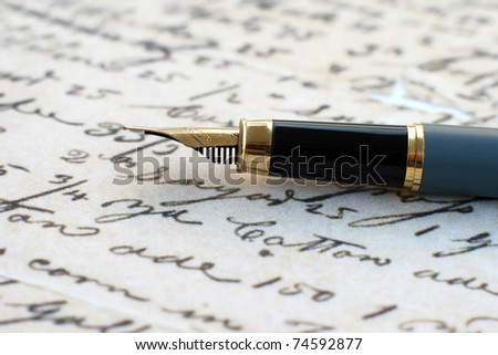 Old letter and fountain pen - stock photo