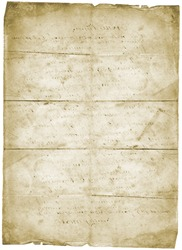 Old letter vintage grunge paper isolated on white background