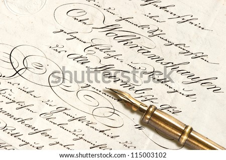 Old letter with calligraphic handwritten text and antique ink pen. vintage background