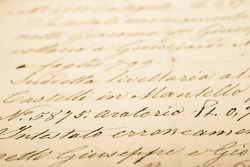 Old letter with vintage handwriting. Grunge background